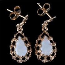 14k Yellow Gold Pear Cabochon Cut Opal Solitaire Dangle Earrings 1.25ctw