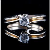 14k Yellow Gold Round Cut Diamond Solitaire Engagement / Wedding Ring Set .31ct