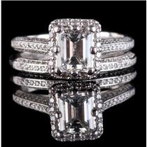 Tacori Platinum Emerald & Round Cut Diamond Engagment / Wedding Ring Set 1.50ctw