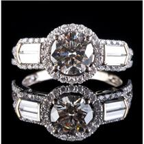 18k White Gold Round & Baguette Cut Diamond Halo Engagement Ring 1.86ctw