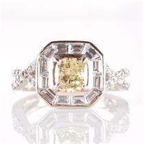 18k White Gold Yellow Diamond Engagement Ring W/ Diamond Accents 1.45ctw