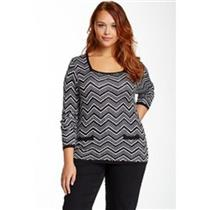 Carol Rose Size 2X Chevron Square Neck Pull-Over Sweater in Black/White