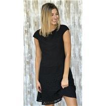 4 Anne Klein Little Black Lace Cap Sleeve Shift Dress Rear Zip/Structured Bodice
