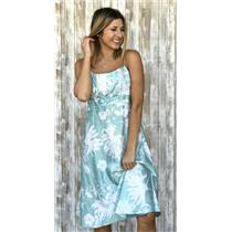 6 Ann Taylor Aqua Blue Floral Print Cotton Empire Waist Dress Spaghetti Straps