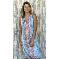 6 Nanette Lepore Split Neck Floral Print Sleeveless Silky Shift Dress w/Paisley