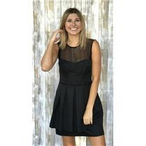 6 Nanette Lepore LBD Black Fit & Flare Dress Sheer Panel Top w/Pleated Skirt