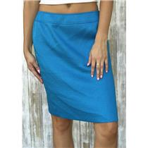 6P Tahari Petite Cerulean Blue Classic Woven Knee Length Pencil Skirt Back Slit