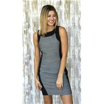 6P Calvin Klein Black & Gray Sleeveless Knee Length Ponte Knit  Sheath Dress