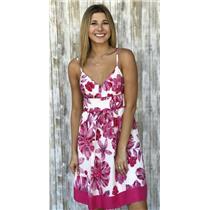 NWT 5 Guess 100% Silk Rose Dream Pink Multi-Color Spaghetti Strap Summer Dress