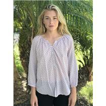 Sz M Joie Mabelle Cotton 3/4 Sleeve Button Placket Front Blouse/Top Orange Glaze