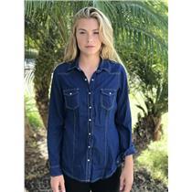 M Daniel Rainn Blue Denim Chambray Snap Front Long Sleeve Collared Western Shirt