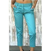 Sz 2 J. Crew Blue Skimmer Flat Front Faux Back Pockets and Hook/Eye Closure Pant