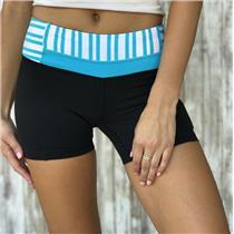 4 Lululemon Black Boogie Yoga Shorts Blue/White Stripe Waist Side Zipper RARE