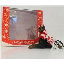 Sandicast Ornament Doberman Pinscher with Red and White Scarf - #XSO11101