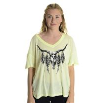 M NWT WILDFOX COUTURE Heat Wave Oversized V-Neck Skull Feathers Top in Sunshine