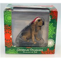 Sandicast Ornament Bloodhound with Santa Hat - #XSO01301-DB