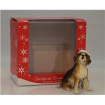 Sandicast Ornament Dark Beagle With Santa Hat - #XSO001