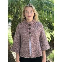 M Free People Brown Pink Rose Gold Knit 3/4 Bell Sleeve Swing Cardigan Sweater