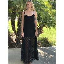 M Free People Black Lace Spaghetti Strap Cutout Back Partially Lined Maxi Dress