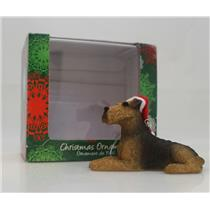 Sandicast Ornament Airedale Terrier With Santa Hat - #XSO18601