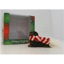 Sandicast Ornament Black Dachshund with Red and White Scarf - #XSO04405