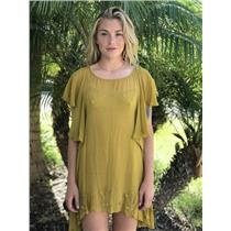 S For Love & Lemons Prickly Pear Mustard Chiffon Ruffle Sleeve Cactus Mini Dress