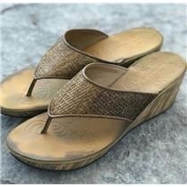 11 Clarks Mimmey Rida Honey Wedge Woven Detail Thong  Faux Cork Platform Sandal