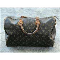 Authentic Vintage Louis Vuitton Brown Monogram Speedy 35 Leather Top Handle Bag