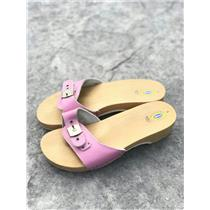 8 Dr Scholl's Original Classic Wooden Sandal Candy Pink Leather Adjust. Buckle