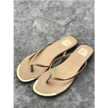 8 DV by Dolce Vita Nude 'Dania' Leather Popular Flip Flops w/Gold Accents at Toe