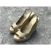 8 Banana Republic Gold Metallic Woven Slingback Platform Wedge Sandals Peep Toe