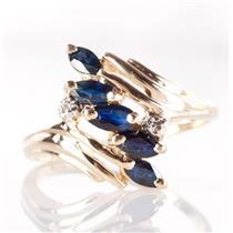14k Yellow Gold Marquise Cut Sapphire & Diamond Ring .72ctw