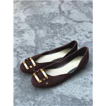 Sz 6 NEW Authentic Matt Bernson Women's Gold Buckle Ballet Flats Burgundy Suede