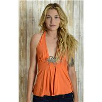 XS Ingwa; Melero Orange Crystal Pave Leaf Deep V-Neck Halter Top w/Empire Waist