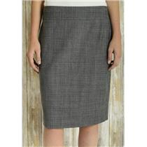Sz 10 Banana Republic Gray Plaid Wool Blend Lined Stretch Classic Pencil Skirt