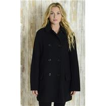 L GAP Women's Black Double Breasted Collared Unlined Heavy Long Sleeve Peacoat