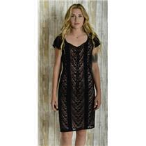 4 Nanette Lepore Black Sheer Lace Cap Sleeve Sheath Dress w/Pink Slip 217-4606