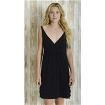 M LA MADE Black Knee Length Plunging V Neckline Jersey Cotton Dress Layered Hem
