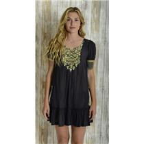 M Velvet Graham & Spencer Dark Blue Short Sleeve Dress Ruffle Hem Detailed Yoke