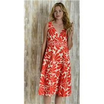 10L Boden Orange/Ivory V-Neck/Back Sleeveless Fit n Flare Polka Dot Waist Dress