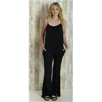 2/M Flynn Skye Not Just A Flare Black Sleeveless Jumpsuit Floral Velvet Jacquard