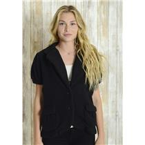 L BCBG MAXAZRIA Black Marshmallow Knit Short Sleeve Sweater Jacket Short Sleeve
