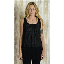 S Bobi Black Cotton Sheer Plaid Jacquard Pattern Sleeveless Tunic Top/Blouse