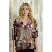 L Left Of Center Anthropologie Maroon/Beige MultiColor Split Neck Chiffon Blouse