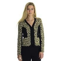 10 NEW Joseph Ribkoff Black Beige Cheetah Leopard Print Zip Front Knit Jacket