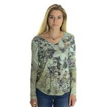 S NWT California Bloom Green Floral Print Burn Out V Neck Long Sleeve T Shirt