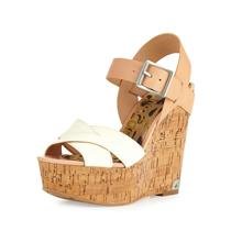 NIB 9.5 Sam Edelman Sasha Off White Natural Leather Cork Open Toe Platform Wedge