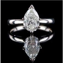 14k White Gold Pear Cut Diamond Solitaire Engagement Ring 1.23ct