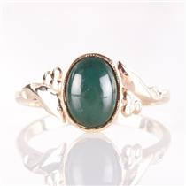 Vintage 1940's 14k Yellow Gold Oval Cabochon Cut Bloodstone Solitaire Ring