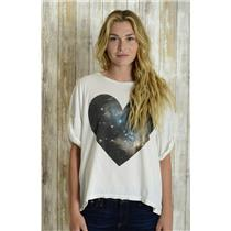 M Wildfox White Galaxy Heart Boxy Short Sleeve Shirt w/Cuffed Sleeve 100% Cotton